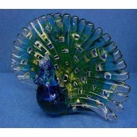 JULIANA OBJETS D'ART ART GLASS PEACOCK
