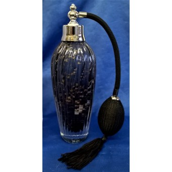 JULIANA OBJETS D'ART ART GLASS PERFUME BOTTLE – BLACK & CHROME