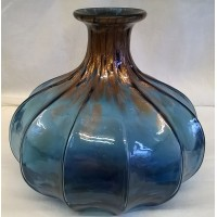 JULIANA OBJETS D'ART GLASS VASE – BLUE & BRONZE 20.5cm