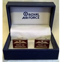 WILLIAM WIDDOP RAF CUFFLINKS SET - PRESS ON REGARDLESS