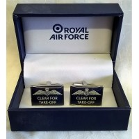 WILLIAM WIDDOP RAF CUFFLINKS SET – CLEAR FOR TAKE-OFF