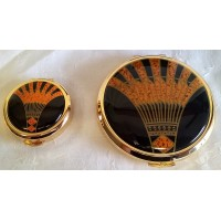 STRATTON ART DECO PILL BOX & MIRROR COMPACT GIFT SET