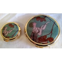 STRATTON V&A ART DECO GEORGE BARBIER L'OISEAU VOLAGE PILL BOX & MIRROR COMPACT GIFT SET