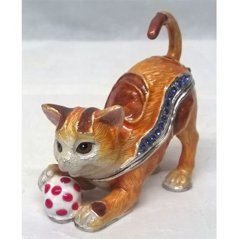 JULIANA TREASURED TRINKETS CAT TRINKET BOX – GINGER KITTEN PLAYING BALL 15626