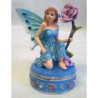 JULIANA TREASURED TRINKETS FAIRY TRINKET BOX – BLUE WINGED FAIRY & ROSE