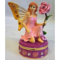 JULIANA TREASURED TRINKETS FAIRY TRINKET BOX – GOLD & WHITE WINGED FAIRY & ROSE