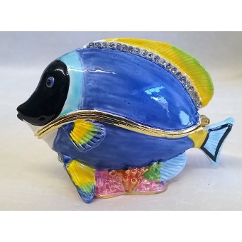 JULIANA TREASURED TRINKETS BLUE TANG FISH TRINKET BOX