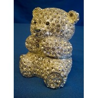 JULIANA TREASURED TRINKETS CRYSTAL TEDDY BEAR TRINKET BOX