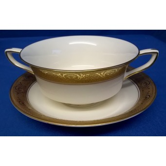 ROYAL WORCESTER C1393 PATTERN TWIN HANDLED BOWL & STAND