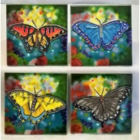 YH ART CERAMICS PORCELAIN TILE PLAQUE OR COASTERS SET – BUTTERFLIES