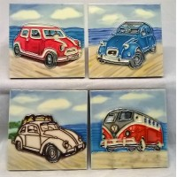 YH ART CERAMICS PORCELAIN TILE PLAQUE OR COASTERS SET – CLASSIC CARS