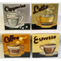 YH ART CERAMICS PORCELAIN TILE PLAQUE OR COASTERS SET – COFFEE