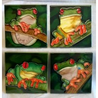 YH ART CERAMICS PORCELAIN TILE PLAQUE OR COASTERS SET – TREE FROG