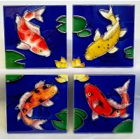 YH ART CERAMICS PORCELAIN TILE PLAQUE OR COASTERS SET – KOI FISH