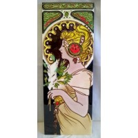 YH ART CERAMICS PORCELAIN TILE PLAQUE – ART NOUVEAU - FEATHER