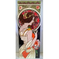 YH ART CERAMICS PORCELAIN TILE PLAQUE – ART NOUVEAU - PRIMROSE
