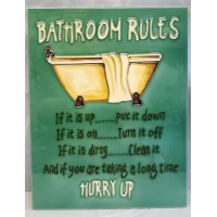YH ART CERAMICS PORCELAIN TILE PLAQUE – RULES OF THE BATHROOM