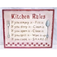 YH ART CERAMICS PORCELAIN TILE PLAQUE – RULES FOR THE KITCHEN