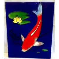 YH ART CERAMICS PORCELAIN TILE PLAQUE – KOI FISH