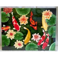 YH ART CERAMICS PORCELAIN TILE PLAQUE – KOI FISHPOND