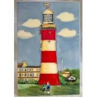 YH ART CERAMICS PORCELAIN TILE PLAQUE – LIGHTHOUSE