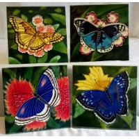 YH ART CERAMICS PORCELAIN TILE PLAQUE, TRIVET OR TEAPOT STAND GIFT SET – BUTTERFLIES