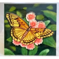 YH ART CERAMICS PORCELAIN TILE PLAQUE, TRIVET OR TEAPOT STAND – BUTTERFLY - YELLOW