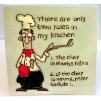 YH ART CERAMICS PORCELAIN TILE PLAQUE – RULES OF THE CHEF