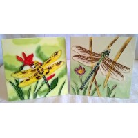 YH ART CERAMICS PORCELAIN TILE PLAQUE, TRIVET OR TEAPOT STAND GIFT SET – DRAGONFLIES
