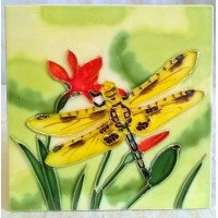 YH ART CERAMICS PORCELAIN TILE PLAQUE, TRIVET OR TEAPOT STAND – DRAGONFLY - YELLOW