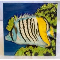 YH ART CERAMICS PORCELAIN TILE PLAQUE, TRIVET OR TEAPOT STAND – FISH – BUTTERFLY FISH
