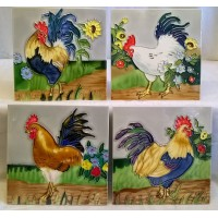 YH ART CERAMICS PORCELAIN TILE PLAQUE, TRIVET OR TEAPOT STAND GIFT SET – CHICKENS - COCKERELS OR ROOSTERS
