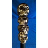VOGLER DESIGN STUDIO - MACABRE FOUR SKULLS HANDLED WALKING STICK OR CANE