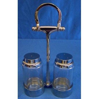 CULINARY CONCEPTS EQUESTRIAN THEMED SILVER PLATED CRUET SET