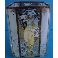GOEBEL ALPHONSE MUCHA FOUR SEASONS TEA LIGHT CANDLE HOLDER - 8540 WINTER