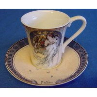 GOEBEL ALPHONSE MUCHA DEMITASSE CUP & SAUCER - THE MUSIC