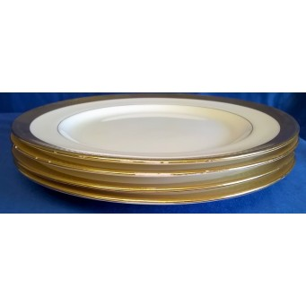 MINTON H1346 PATTERN 22.5cm BREAKFAST PLATES (set of four with worn gilding)