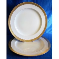 MINTON H1346 PATTERN 26cm DINNER PLATES (pair with worn gilding)