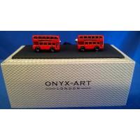 ONYX-ART CUFFLINK SET - DOUBLE DECKER BUS