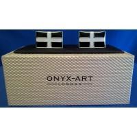 ONYX-ART CUFFLINK SET - CORNWALL ST PIRAN'S CROSS FLAG