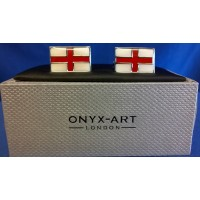 ONYX-ART CUFFLINK SET - ENGLAND ST GEORGE'S CROSS FLAG