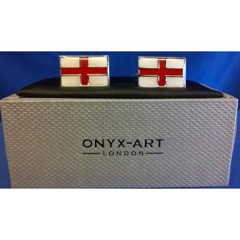 ONYX-ART CUFFLINK SET - ENGLAND ST GEORGE'S CROSS FLAG