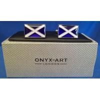 ONYX-ART CUFFLINK SET - SCOTLAND ST ANDREW'S CROSS FLAG