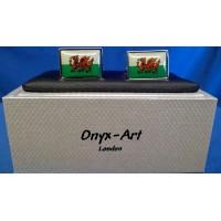 ONYX-ART CUFFLINK SET - WALES FLAG