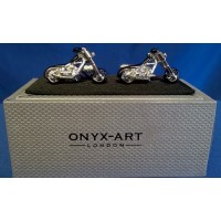 ONYX-ART CUFFLINK SET - MOTORCYCLE V TWIN CHOPPER