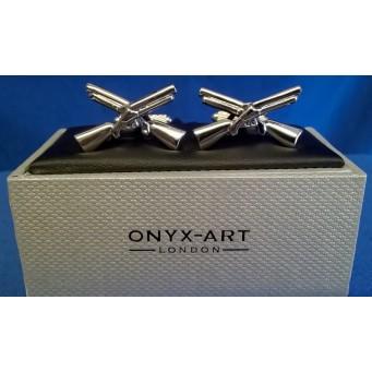 ONYX-ART CUFFLINK SET - DOUBLE BARREL SHOTGUNS