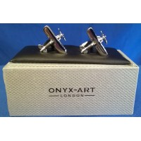 ONYX-ART CUFFLINK SET - TIGER MOTH BIPLANE