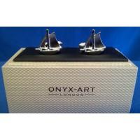 ONYX-ART CUFFLINK SET - SAILING YACHT