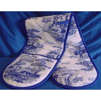 SPODE BLUE ITALIAN DOUBLE HANDED OVEN GLOVES