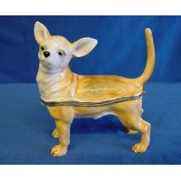 JULIANA TREASURED TRINKETS CHIHUAHUA DOG METAL TRINKET BOX